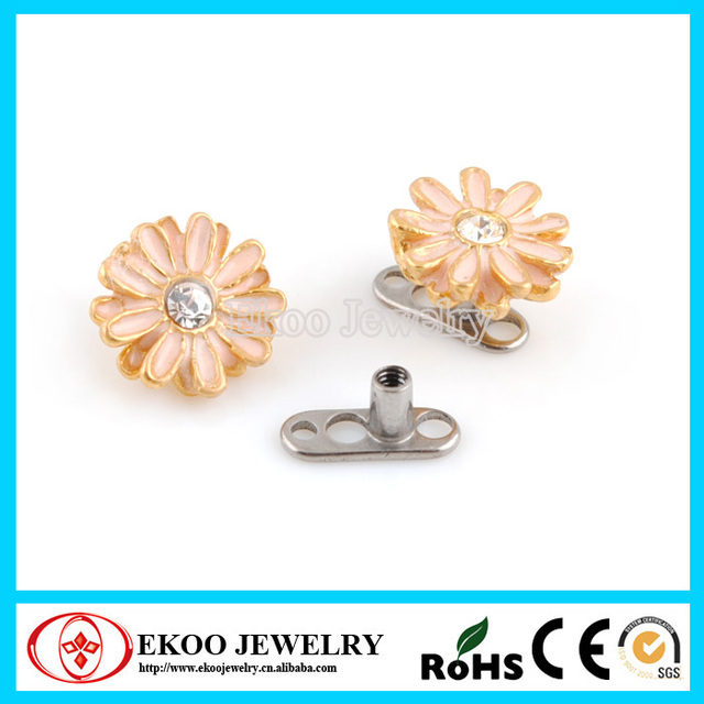 G23 Plated Real With Gold Flower Titanium Dermal Top Jewelry Free