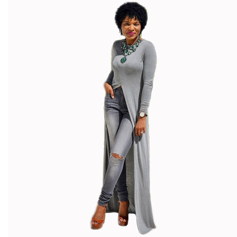 Womens Knitted Cotton Party Casual Long Sleeve O Neck High Slit Fall Autumn Fashion Fit and Flare African Maxi Dress 206184 petite striped long sleeve slit casual maxi dress