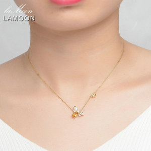 Image 2 - LAMOON  Bee 5x7mm 1ct 100% Natural Citrine 925 Sterling Silver Jewelry  Chain Pendant Necklace S925 LMNI015