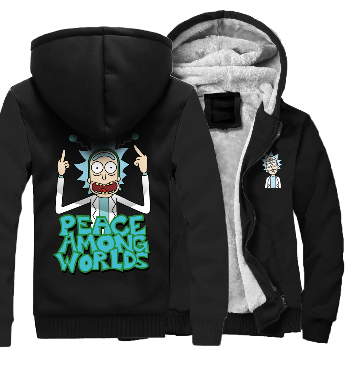 PEACE AMONG WORLDS Hoodies Men 2018 Thick Sweatshirts Fahsion Cartoon Rick And Morty Fun ...