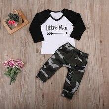 Комплект одежды из 2 предметов для маленьких мальчиков, хлопковая футболка с длинными рукавами+ камуфляжные штаны одежда для малышей с принтом маленького человечка