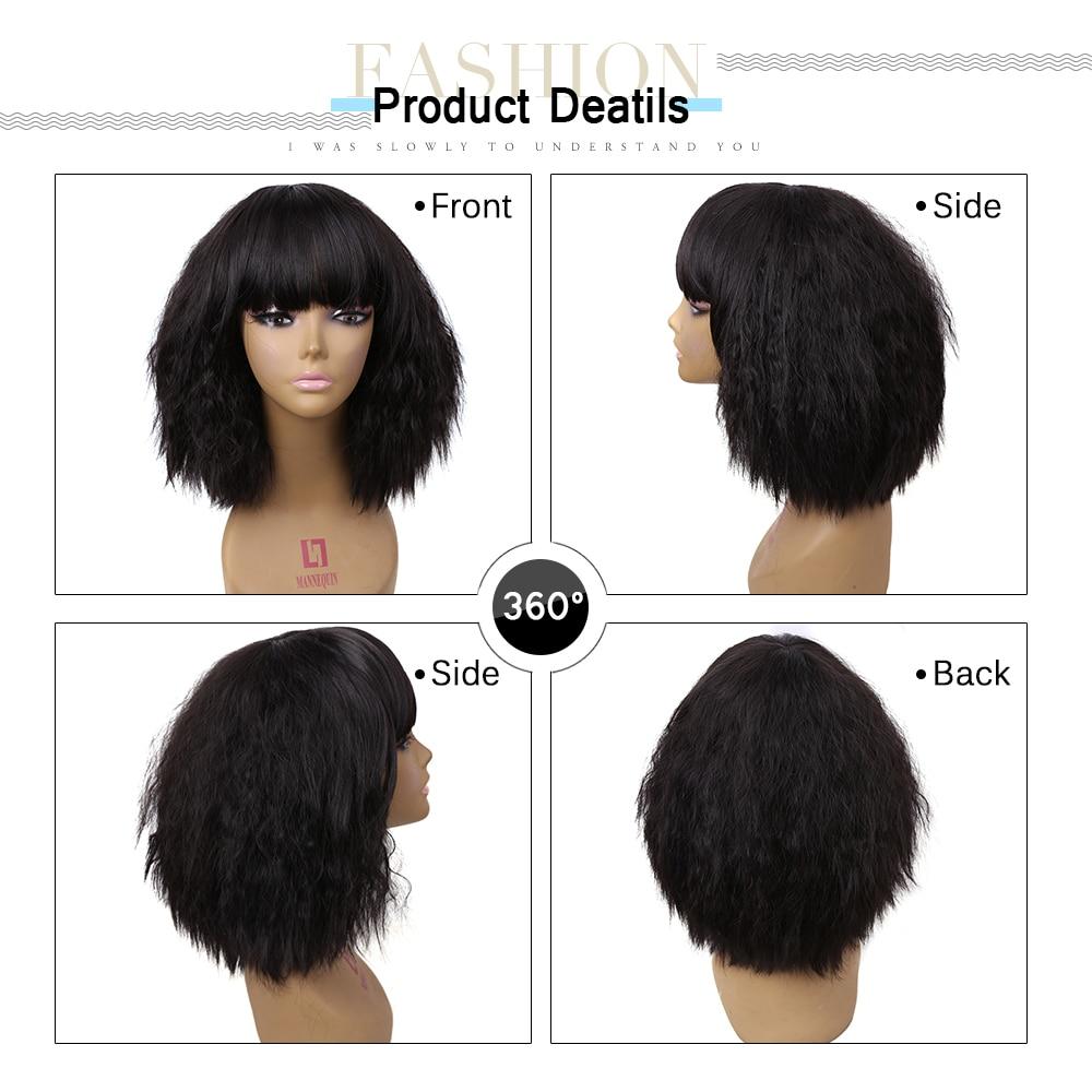 Amir kort längd Afro Kinky Curly syntetiska peruker African American - Syntetiskt hår - Foto 6