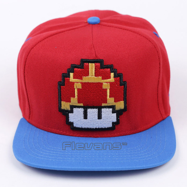 70de70e188e Fashion Super Mario Bros Brand Flat Sun Hat Mushroom   Mario Cosplay  Baseball Caps Hip Hop Snapback for Men Boy