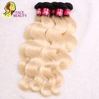 Facebeauty 1B 613 Peruaanse Body Wave Menselijk Haar Bundels 1 Stks 2 Tone Ombre Blonde Kleur Haar Weave Virgin Weft Gratis Verzending
