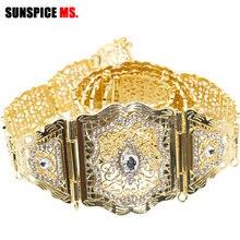 Cinturón de cintura de Metal con cristales para mujer, caftán marroquí, joyería para vestido de boda, cadena de Color dorado y plateado con diamantes de imitación
