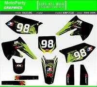 New Team Graphic Background Decals Kit For Kawasaki KX250F KX 250F KXF250 KXF 250 2004 2005 Motorcycle Stickers