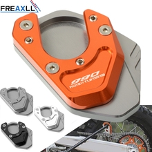 For KTM 990 Adventure S 990AdventureS 2007 2008 CNC Motorcycle Aluminum Kickstand Side Stand Plate Pad Support Enlarge Extension motorcycle cnc kickstand foot side stand extension pad support plate enlarge stand for ktm 950 supermoto 2006 2007 with logo
