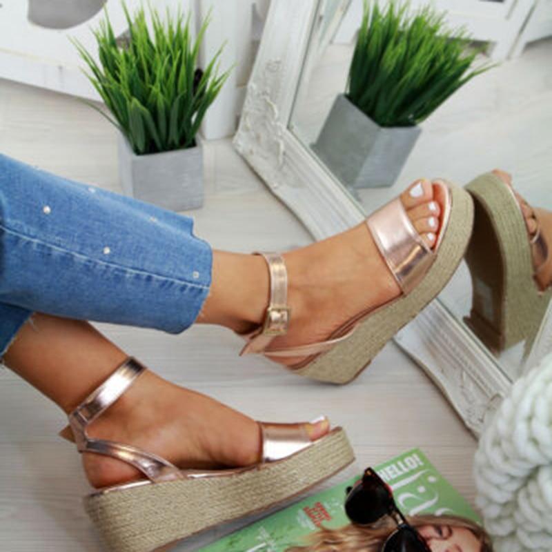 Laamei Summer Platform Sandals 2019 Fashion Women Flat Sandal Wedges Shoes Casual Woman Peep Toe Ladies Platform Sandals