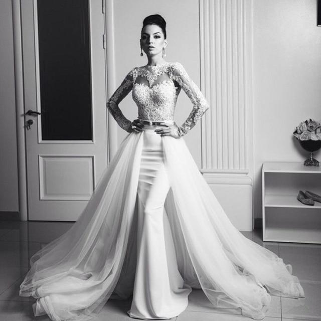 Vintage dentelle détachable Train sirène robes de mariée avec amovible jupe  2016 2 deux pièces à