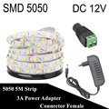 DC 12V Fita LED Strip 5050 5M 300LED iluminacion LED Light Flexible Neon Tape Tira LED 12V Ledstrip Bande Ruban With 3A Power
