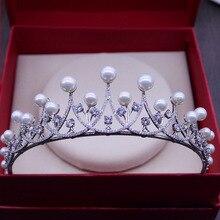 Потрясающие Кристаллы Стразы Жемчуг Меди, Кубический Циркон Свадебные Тиара CZ Люкс Для Королевы Принцесса Театрализованное Корона Невесты