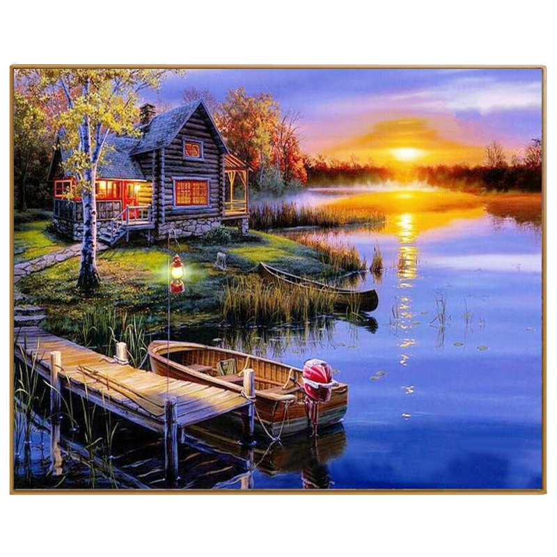 PHKV Diy Coloring Picture By Numbers Painting On Canvas Pictures Paint By Number Kits Hand Drawing Coloring Sunset On The Lake