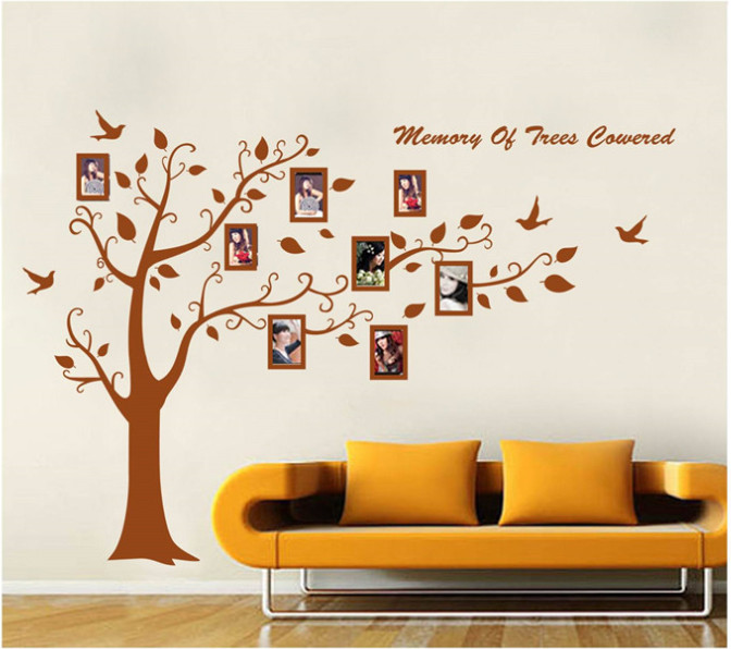 2pcs 180X300CM Large Brown Tree Photo Frame Wall Sticker Wall Decals Kids Room Wall Mural Home Decor Home Decoration Wallpaper