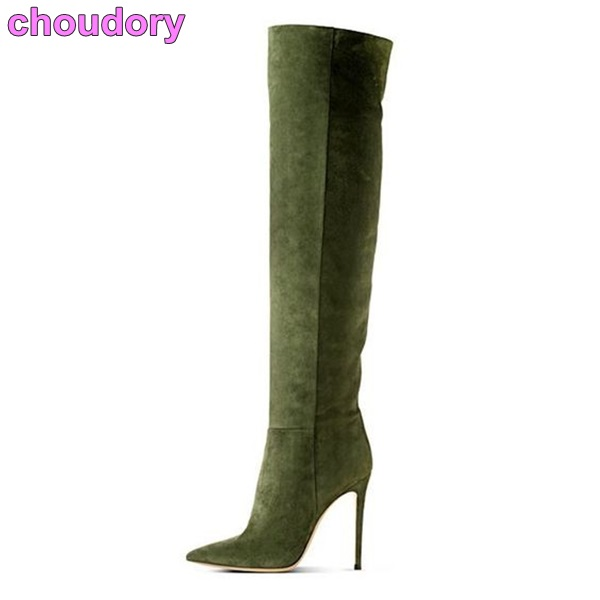 где купить 2017 new arrival women Chic army green thigh high boots suede leather stiletto heel pointed toe shoes simple elegant boot по лучшей цене