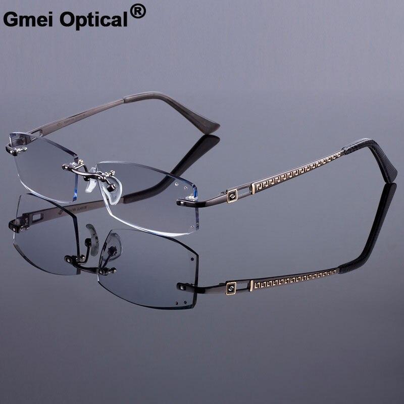 2bec090552d Stylish Design Women Rimless Frame Men Titanium Alloy Glasses Frame Diamond  Trimming Cut Rimless Glasses With Gradient Tint Lens