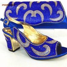 d5535f73 Italiano Zapatos con juego Bolsas conjunto decorado con rhinestone  nigeriano zapato y bolso del partido Sets mujeres Zapatos en .