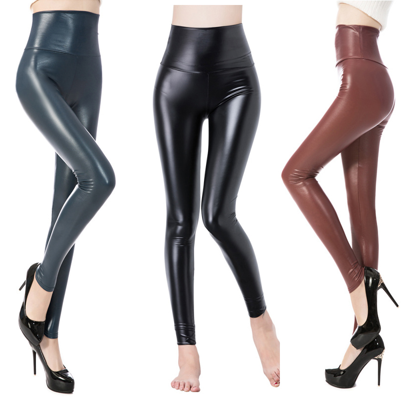 DISSIMILAR Hot High Waist PU Leather   leggings   Sexy Skinny Black leather Matt Black Leggins Ankle-length Stretchy Pants for Women