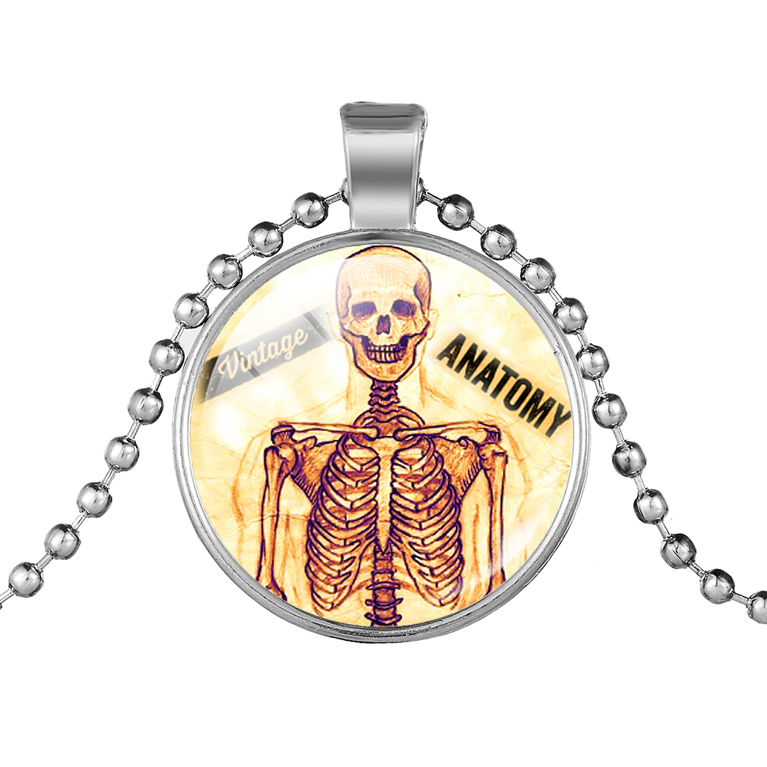 Creative Halloween Glow In The Dark Pendant Necklace Skull Skeleton Glass Cabochon Necklace Jewelry Halloween Gift