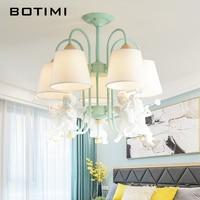 BOTIMI ангелы светодиодный Люстра с Ткань Абажур для Гостиная белый металл люстры зеленый E27 блеск деревянный Hanglamp