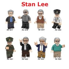 Single Marvel Super Heroes Avengers Father Stan Lee Mini Building Blocks Figure Bricks Toy kids Christmas gift Compatible Legoed(China)