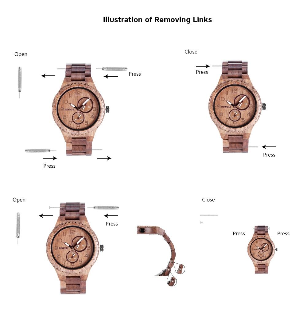 BEWELL ZS - W154A Male Wooden Watch Calendar Luminous Pointer Natural Wristwatch for Men