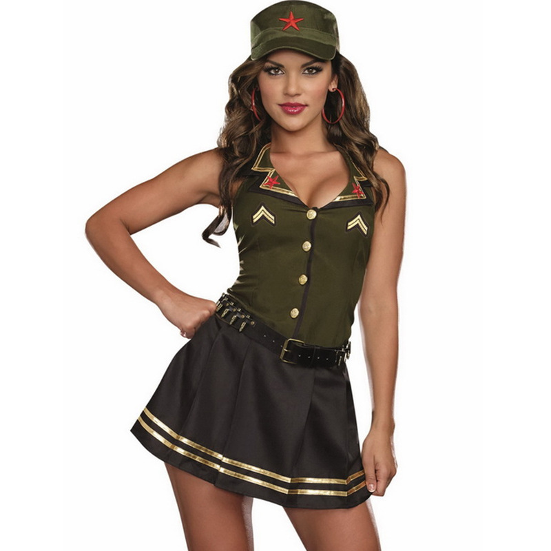 women ladies army soldier girl cosplay costume captain outfitchina - Soldier Girl Halloween Costume