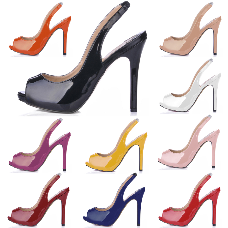 CHMILE CHAU Sexy Dress Party Shoes Women Peep Toe Stiletto High Heels Sling Back Ladies Pumps Zapatos Mujer Plus Sizes 10 S1 in Women 39 s Pumps from Shoes