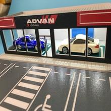 1/64 modelo de carro fábrica de reparação modificado arquitetura diorama cena salão de exposição ho railway layout de trem escala N