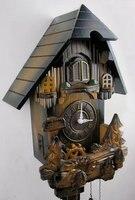 European style wall clock pure real wood carving the cuckoo clock mute creative wall clock