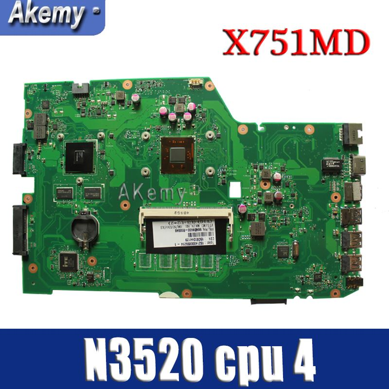 Amazoon  X751MD Laptop Motherboard For ASUS X751MD X751M K751M Test Original Mainboard  N3520 Cpu 4 Cores 2.167 GHZ