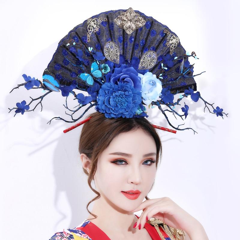 Abanico Chino desgaste de la cabeza la noche Club cantantes realizar programa insignia de Gran accesorio para el cabello para mujer