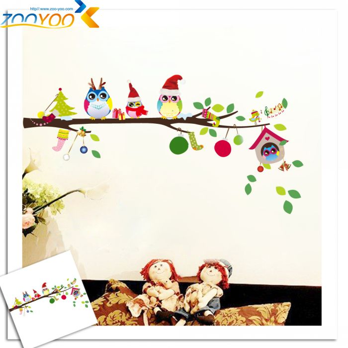 wise owls on colorful tree wall stickers for kids rooms ZooYoo1013 decorative adesivo de parede removable pvc  wall decal