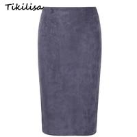 Tikilisa 2017 Spring Summer Soild Midi Pencil Skirt Flocking Suede Sexy Hip Push Basic Bodycon Skirts