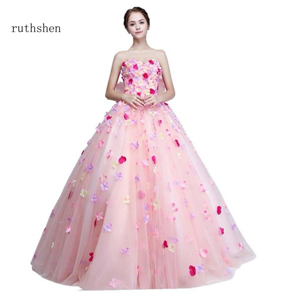 ruthshen Sweet Cheap 2018 16 Teens   Prom     Dresses   New Flowers Long Strapless Ball Gown   Prom     Dresses   Vestidos De Festa Party Gowns