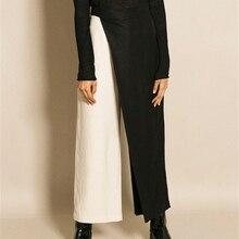 Двухцветные широкие брюки в стиле пэчворк, широкие брюки для женщин, высокая талия, асимметричная Весенняя Повседневная Женская одежда
