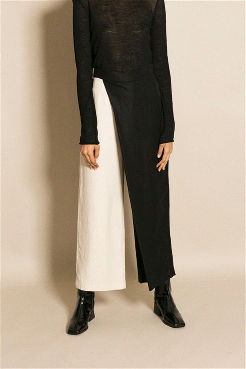 Double couleur pantalons à jambes larges Patchwork pantalons à jambes larges femmes taille haute asymétrique printemps décontracté vêtements féminins 2019
