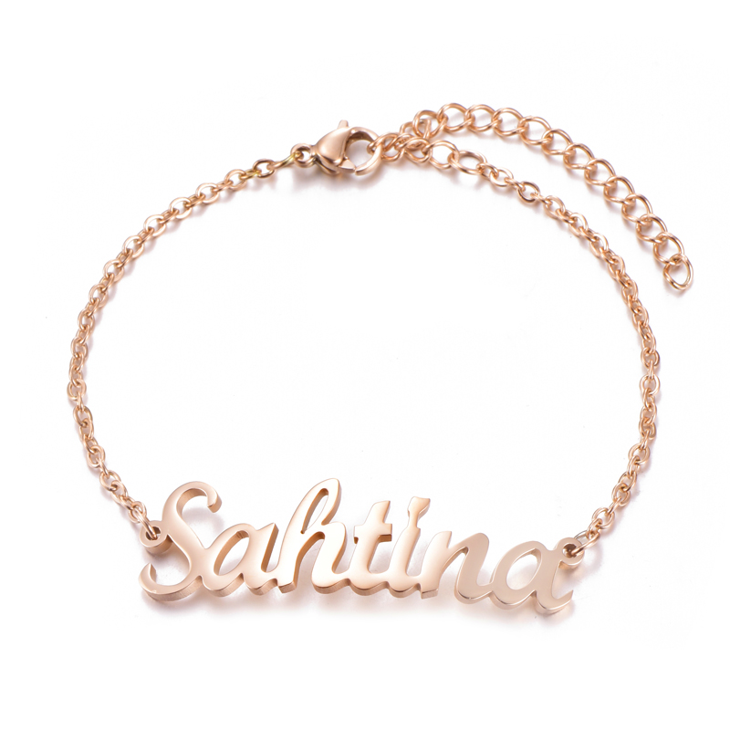 Us 4 24 15 Off Custom Name Bracelet Personalized Women Stainless Steel Customize Initial Charm For Jewelry In Chain Link