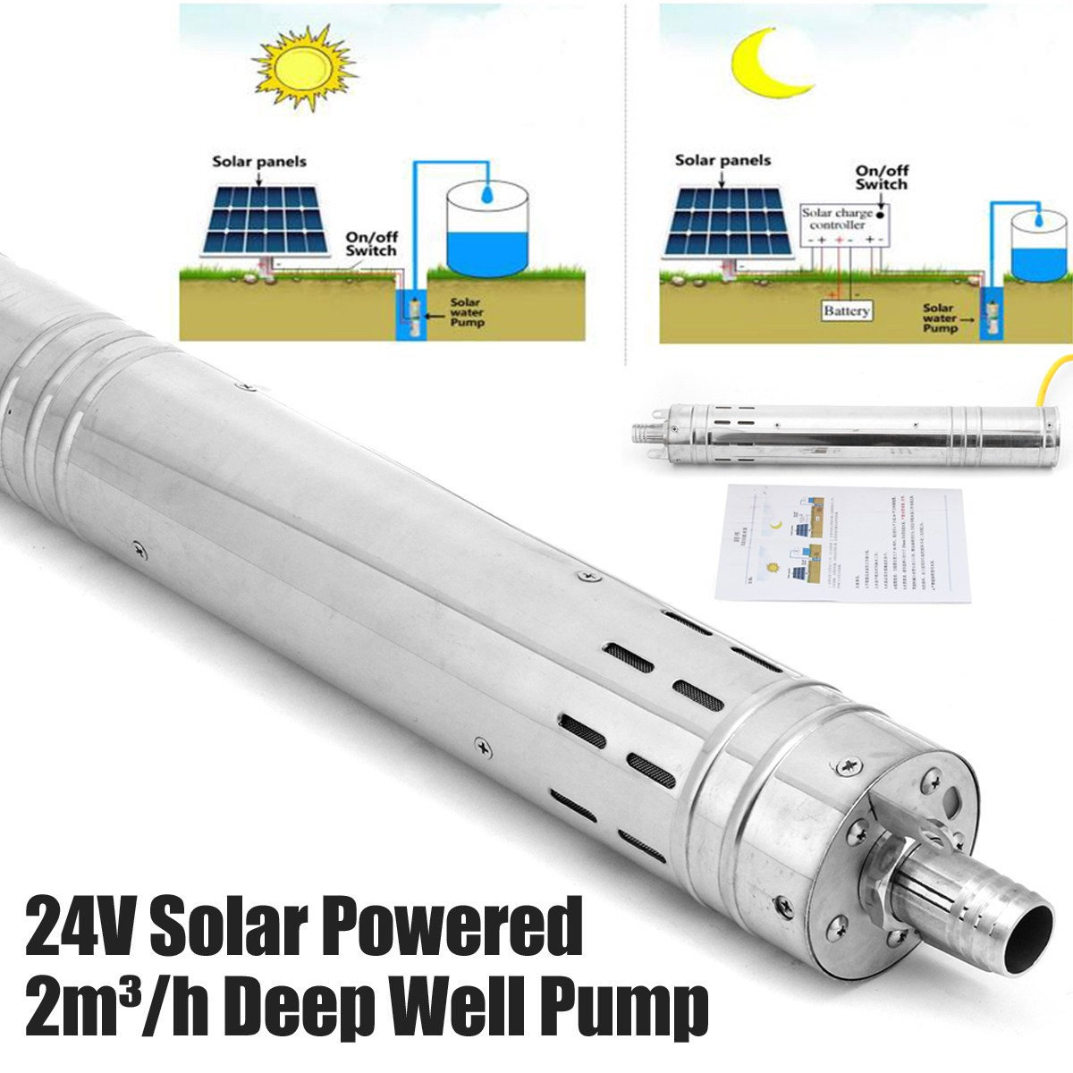 24V DC Farm & Ranch Solar Powered sewage Pump Submersibel Bore Hole Deep Well Pump mp 3500 twisted blade sewage pumping septic sewer toilet without clogging sewage pumps garbage