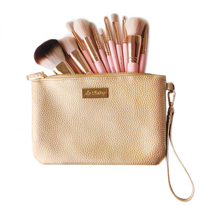 Image 3 - Professionelle 12 stücke set Rosa Make Up Pinsel Mit Goldenen Leder Tasche Hohe Qualität Make Up Tools Eye Make up Pinsel