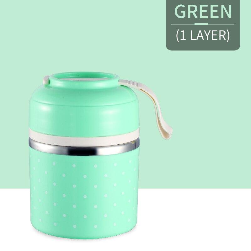 Милые детские Термальность Коробки для обедов герметичность Нержавеющая сталь Bento box для детей Портативный Пикник школа Еда контейнер Box - Цвет: Green 1 Layer