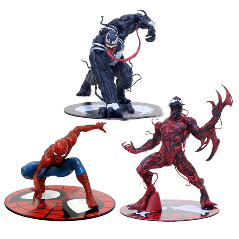ARTFX ESTÁTUA Filme The Amazing SpiderMan Venom Carnificina Milhas Morales Vermelho Spider-Man Action Figure Collectible Modelo Toy