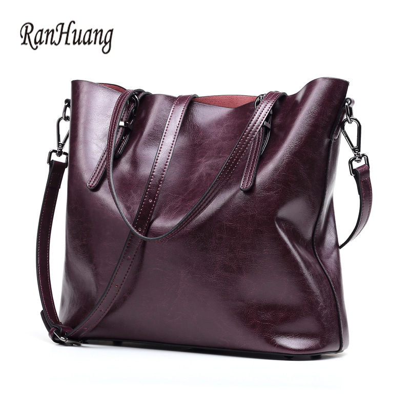 RanHuang Top Quality Genuine Leather Handbags Women Fashion Large Tote Bag Women's Vintage Shoulder Bags Luxury bolsa feminina