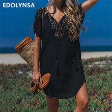 2019 bawełna Beach Cover do sarong pływać Cover się pareos de Playa mujer Beachwear Vestido Playa bikini pokrywa tuniki Q710 tanie tanio Pasuje do większych niż zwykle Sprawdź informacje o rozmiarach tego sklepu EDOLYNSA Stałe Czarny Czeski Letnich Has No Stretch