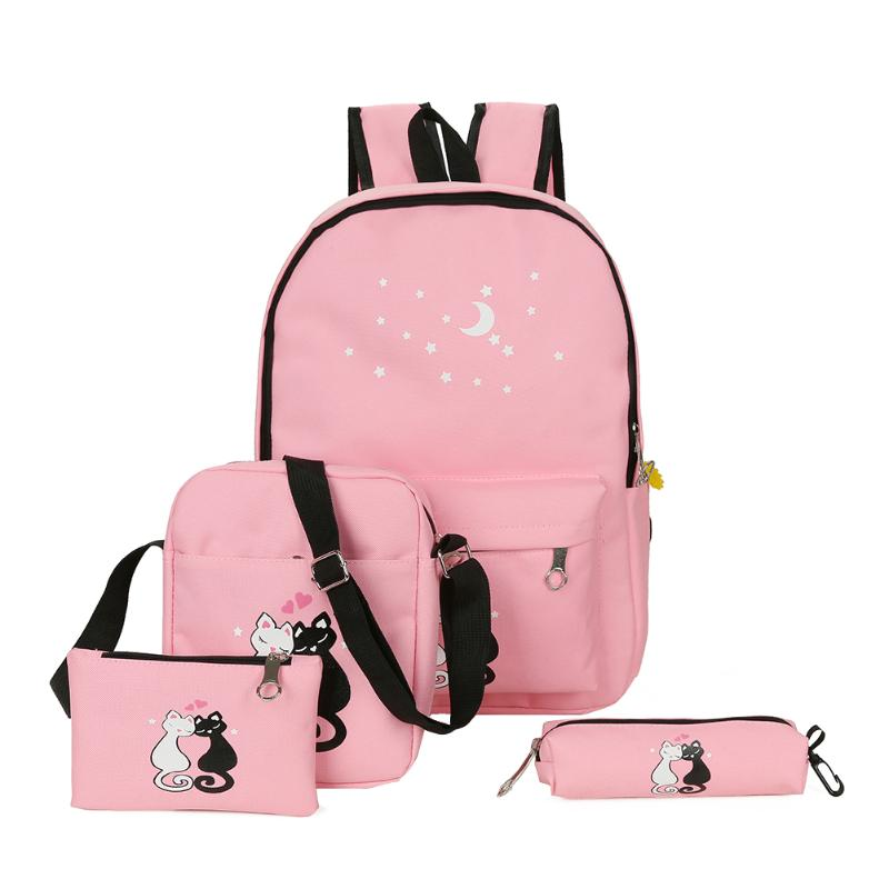 4pcs Lovely Cute Cat Printed Backpack Unisex Canvas Preppy Chic College Style School Bag High Capacity Useful Backapck Set