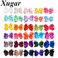 Xugar 30Pcs/lot 6 Inch Hair Accessories Ribbon Bows Girls Solid Bowknot with Clips Kid Boutique Hairgrips