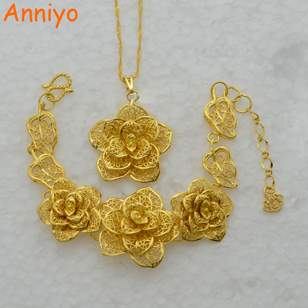 Anniyo Big Flower Jewelry Set Gold Color Africa Wedding