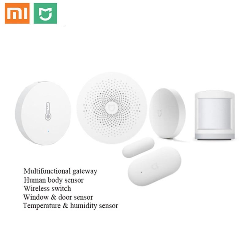 100% Original Xiaomi Smart 5 Home Kits Gateway Door Window Sensor Human Body Sensor Wireless Switch Humidity MI APP