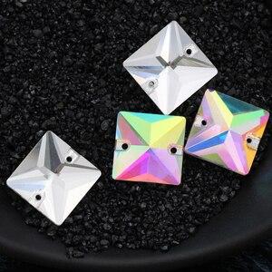 Image 4 - 12mm תפירת קריסטל AB Flatback Rhinestones לתפור על גבישי אבנים כיכר Strass עבור DIY בגדי מלאכות 50pc