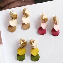 Chadestinty корейский, геометрической формы серьги круглые Клипсы Серьги без пирсинга женские ювелирные изделия Желтый Розовый ушные клипсы манжеты серьги