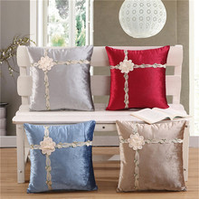 45x45cm Velvet 3D Embroidery Flower Cushion Cover Throw Pillow Sofa Waist Pillowcase Home Wedding Party Decoration knooppakket latch hook kits latch hook pillow do it yourself flower embroidery borduurpakket kussen embroidery package pillow